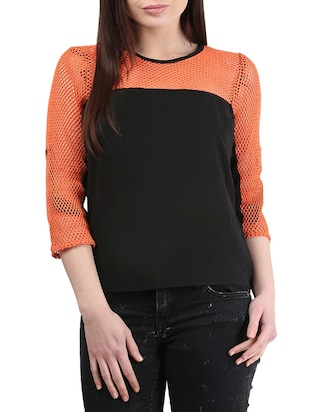 orange/black Net/Georgette top