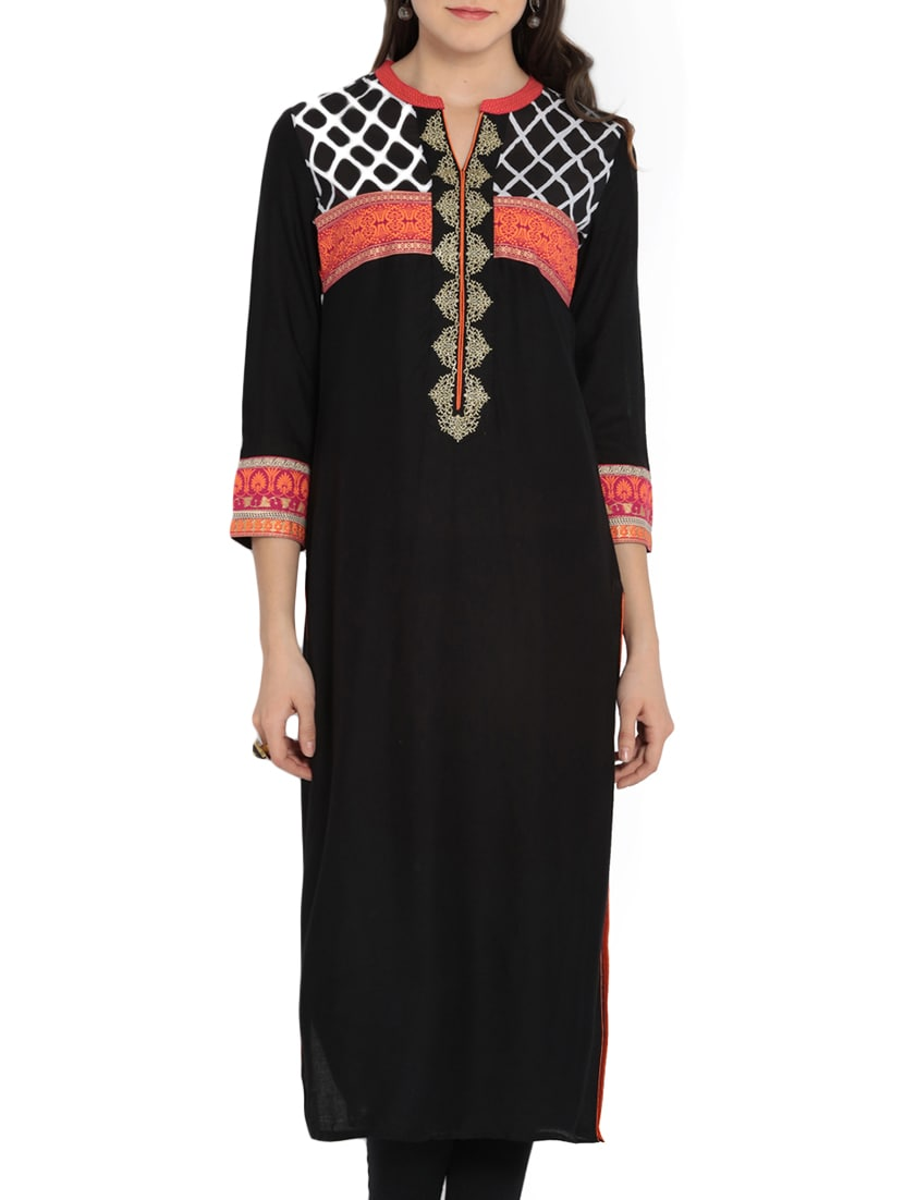Black Rayon Printed Embroidery Kurta - By