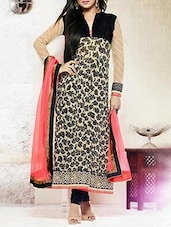 Cream, Black Faux Georgette Semi-stitched Dress Material - By