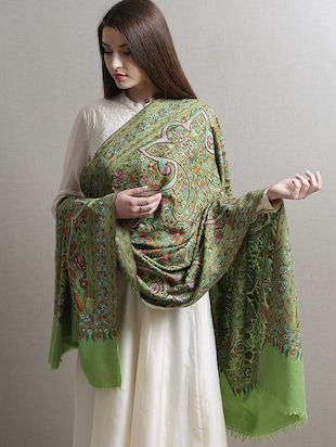 Light green embroidered pashmina shawl