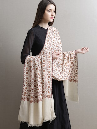 White jaal embroidered pashmina shawl