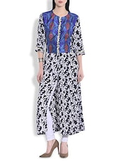 Dark Blue And White Rayon Floral Maxi Dress - By