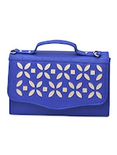 Royal Blue Leatherette Cut Worked Sling Bag - By