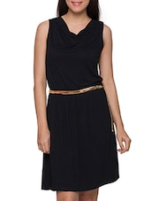 Black Cowl Neck Dress With Golden Waist Belt - Globus