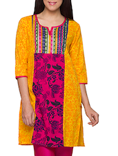 Yellow-Pink Cut & Sew Floral Cotton Kurti - Globus
