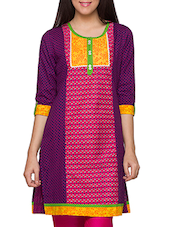 Multicolored Printed Button-Up Sleeves Kurti - Globus
