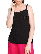 Black Casual Sleeveless Cotton Top - Globus