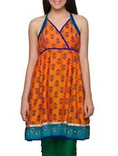 Indo-Western Orange Halter Neck Kurti - Globus