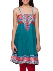 Multicolored Cotton Camisole Neck Embroidered Kurti - Globus