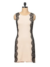 Beige Cotton Dress With Scallop Lace - Besiva