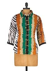 Multi Georgette Animal Printed Shirt - Ayaany
