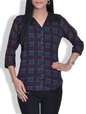 Black And Blue Checkered Poly Georgette Shirt - By