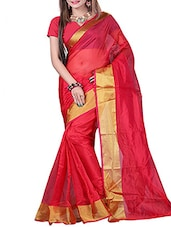 Red Pure Matka Silk Bengal Handloom Saree - By