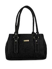 Solid Black Leatherette Handbag - By