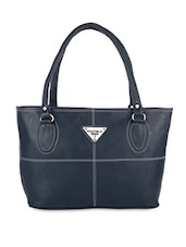 Solid Navy Blue Leatherette Handbag - By