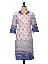 Printed Three Quarter Sleeve Cotton Kurta - Enakshi
