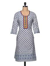 Embroidered Round Neck Printed Cotton Kurta - Enakshi