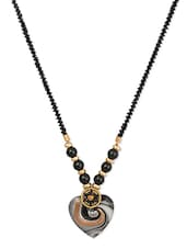 Black Bead Necklace With Black Embossed Heart Pendant - THE BLING STUDIO