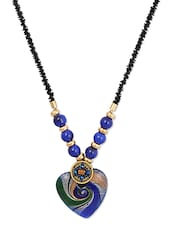 Black Bead Necklace Royal Blue Embossed Heart Pendant - THE BLING STUDIO