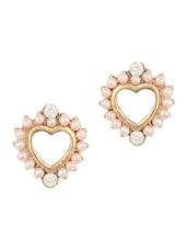 Pearl  Stone Stud Heart Earring - THE BLING STUDIO