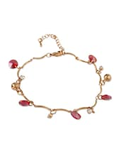Golden  Bracelet With Pink Stones - THE BLING STUDIO