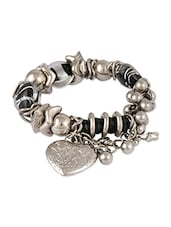 Silver  Black  Beads Bracelet With Silver Embossed Heart Charm - THE BLING STUDIO