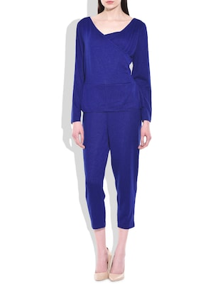 Blue Poly Cotton Spandex Knit Jumpsuit