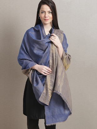 Royal blue and gold pashmina shawl