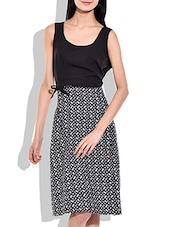 Black- White Color  Poly Crepe Dress - By