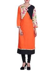 Orange Paisley Printed Rayon Jacket Styled Kurta - By