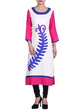 Off White Embroidered Flax Cotton And Rayon Kurta - By