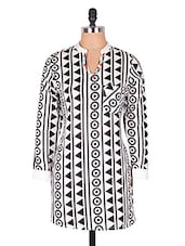 Geometric Print Mandarin Collar Cotton Kurti - Cotton Curio