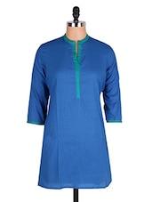 Blue Mandarin Collar Cotton Kurti - Cotton Curio