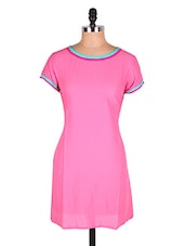 Light Pink Short Sleeves Cotton Kurti - Cotton Curio
