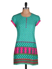 Green Printed Short Sleeves Kurti - Cotton Curio