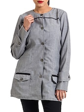 Grey Cotton Winter Coat - By