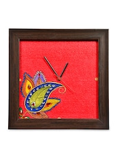 Canvas Handpainted Paisley Clock With Beads Work - ExclusiveLane