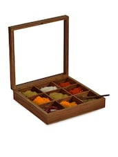 Spice Box In Sheesham Wood With Spoon - ExclusiveLane