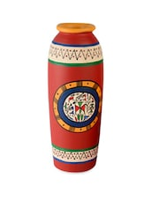 Red 6 Inch Terracotta Handpainted Tappered Warli Vase - ExclusiveLane