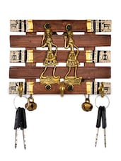Dhokra And Warli Handpainted Key Holder With Ghungroo Brown - ExclusiveLane
