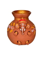 Terracotta Handpainted Baby Ganesha Coming Out From The Matki - ExclusiveLane