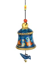Terracotta Handpainted Hanging Bell With Bird Blue - ExclusiveLane