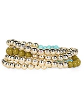 Fashionable Gold Beaded Bracelet Set - Blueberry