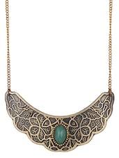 Stone Embellished Oxidised Brass Necklace - Mesmerizink