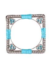 Square Thread Wrapped Stone Embellished Bangle Set - Mesmerizink