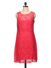 Red Floral Lace Dress - Stylechiks