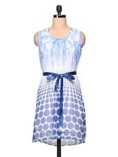 Round Neck Sleeveless Polka Dots Print Dress - Stylechiks
