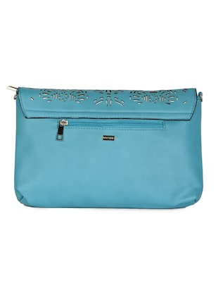 blue Leatherette Cut Work Clutch - 985221 - Standard Image - 2
