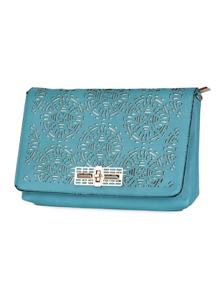 blue Leatherette Cut Work Clutch - 985221 - Standard Image - 5