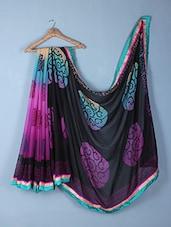 Black & Purple Printed Georgette Saree - Inddus